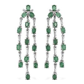 Kagem Zambian Emerald (Ovl), White Topaz Chandelier Earrings (with Push Back) in Platinum Overlay St