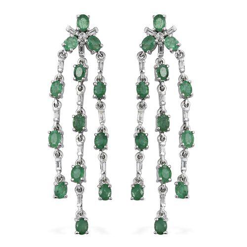 4.5 Ct Kagem Zambian Emerald and White Topaz Chandelier Earrings in Silver 6.84 grams