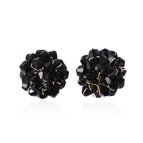 Simulated Black Spinel Cluster Stud Earrings (with Push Back) in Gold Tone