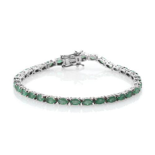 AA Kagem Zambian Emerald (Ovl) Bracelet (Size 7.5) in Platinum Overlay Sterling Silver 7.500 Ct.