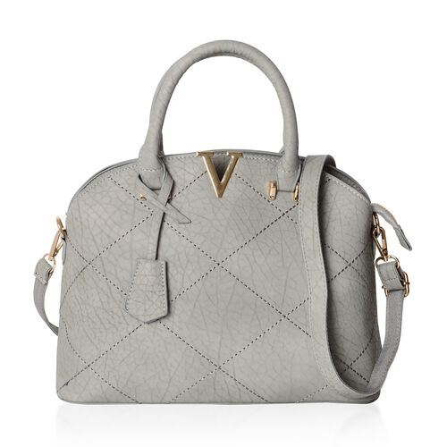 Chic Grey City Tote Bag with External Zipper Pocket and Removable Shoulder Strap (Size 32x25x12x10 Cm)
