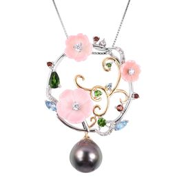 Multi Gem Stone Sterling Silver Pendant With Chain  9.490  Ct.
