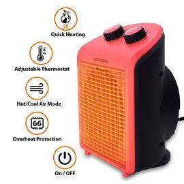 1000W/2000W Electric Fan Heater with 2 Heat and 1 Cold Speed Setting (Size 25x19x13 Cm) - Red