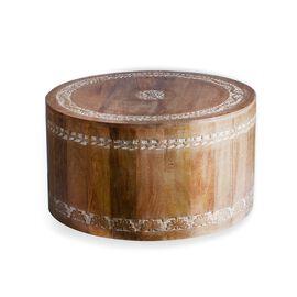 NAKKASHI - Hand Carved Mango Tree Solid Wood Round Coffee Table (60x33 Cm)