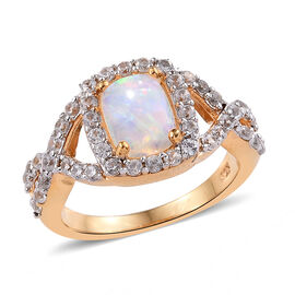 Super Auction- Wegeltena Ethiopian Welo Opal (Cush 8x6 mm, 1.00 Ct), Natural Cambodian Zircon Ring in 14K Gold Overlay Sterling Silver 2.00 Ct.