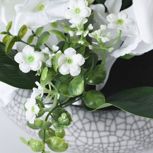 4 Heads Lily and 3 Heads Hydrangea Decorative Flower Arrangement in Ceramic Pot (Height: 40Cm) - White