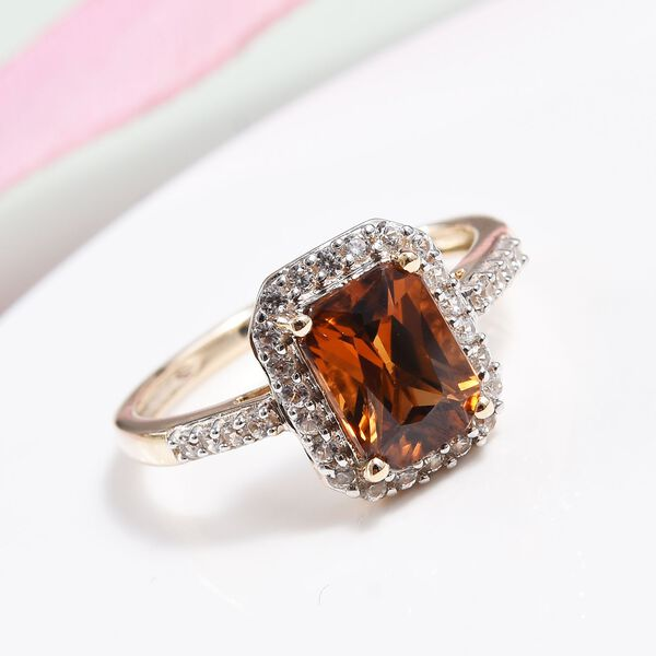 9K Yellow Gold Radiant Cut Red Zircon and Natural Cambodian Zircon Ring 2.85 Ct.