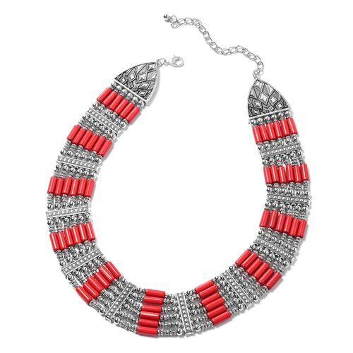 Designer Inspired-Ruby Colour Howlite  BIB Necklace (Size 17) in Silver Plated.