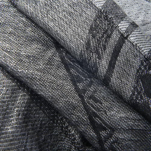 Designer Inspired - Black Colour Scarf With Silver Metalic Thread Detailing (Size 180x70 Cm)