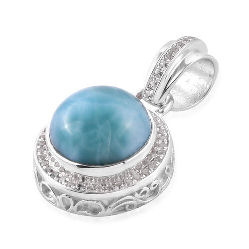 Bali Legacy Collection Larimar (Rnd), Natural White Cambodian Zircon Pendant in Sterling Silver 6.75 Ct.