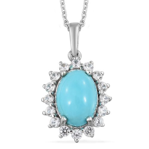 Arizona Sleeping Beauty Turquoise (Ovl 4.30 Ct), Natural Cambodian Zircon Pendant with Chain in Plat