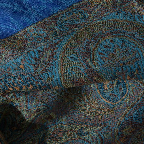 Turquoise, Brown and Multi Colour Paisley and Floral Pattern Reversible Scarf (Size 200X73 Cm)