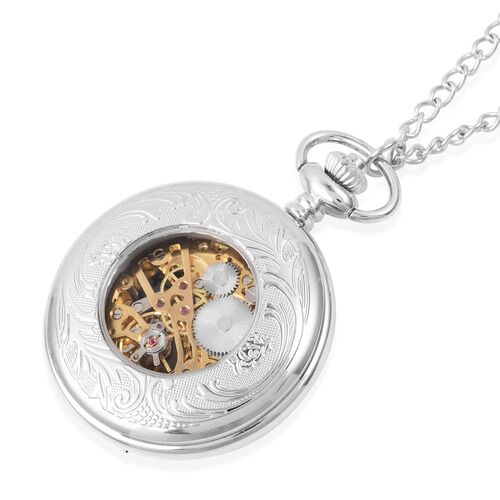 GENOA Automatic Skeleton Water Resistant Pocket Watch with Chain in SilverTone