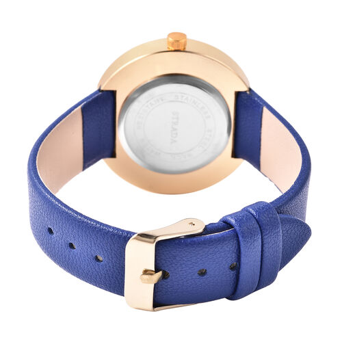 3 Piece Set - STRADA Japanese Movement Watch with Blue Strap, Simulated Blue Agate, White Austrian Crystal and Multi Gemstone Beaded Bracelets with Heart and Feather Charm in Gold Tone