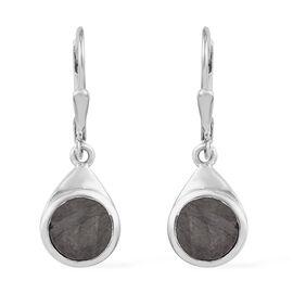 Meteorite (Rnd) Drop Lever Back Earrings in Platinum Overlay Sterling Silver 4.75 Ct.