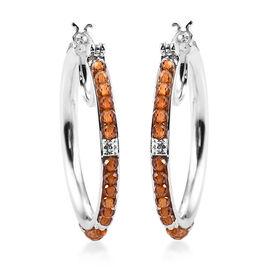 Hessonite Garnet Hoop Earrings (with Claps) in Silver Tone 7.50 Ct.