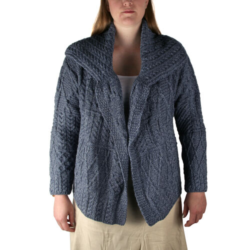 Carraig Donn 100% Merino Wool Knitted Women Cardigan with Pockets and Button- Blue - M size