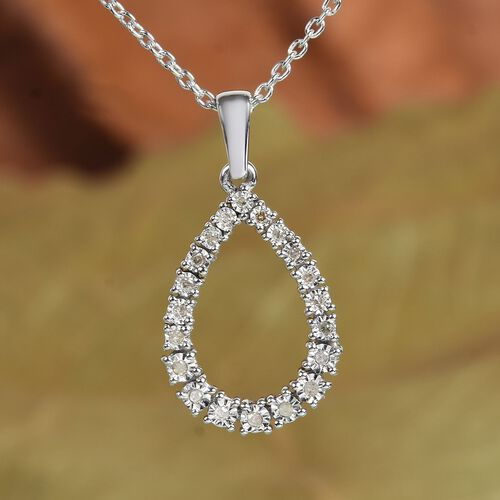 Diamond Pendant with Chain (Size 18) in Platinum Overlay Sterling Silver
