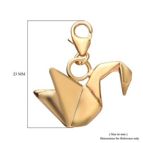 Origami Swan Silver Charm Pendant in Gold Overlay, Silver wt 3.61 Gms.
