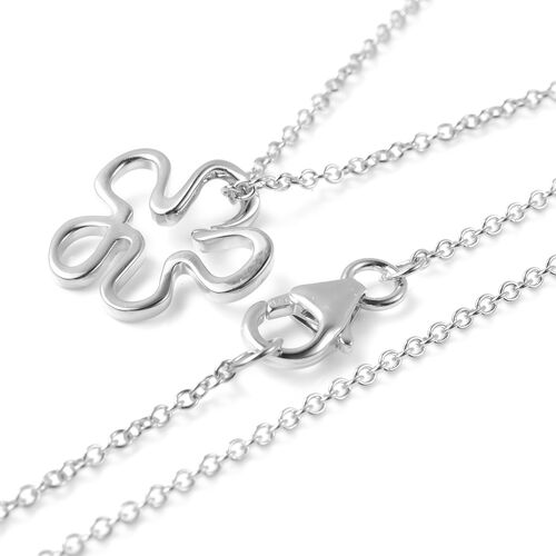 LucyQ Splash Pendant With Chain (Size 18) in Rhodium Overlay Sterling Silver