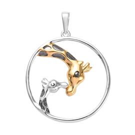Platinum, Yellow Gold and Black Overlay Sterling Silver Giraffe Mother-Child Love Pendant, Silver wt