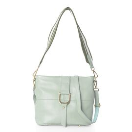 100% Genuine Leather Pastel Green Colour Crossbody Bag with External Zipper Pocket and Removable Sho