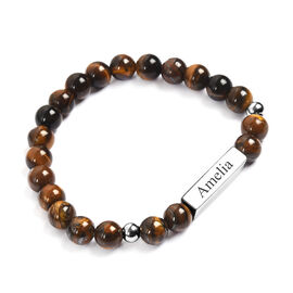 Personalised Engravable Bar Tiger Eye Beads Bracelet Size 7-7.5Inch