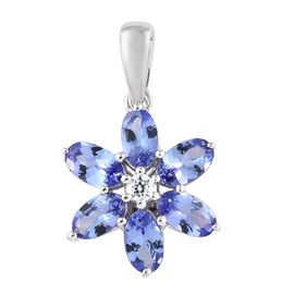 9K White Gold AA Tanzanite (Ovl), Natural Cambodian Zircon Floral Pendant 1.500 Ct.