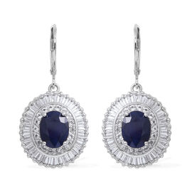 Kanchanaburi Blue Sapphire Extremely Rare Size (Ovl), White Topaz Lever Back Earrings in Rhodium Ove
