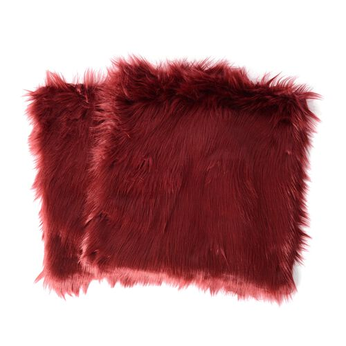 Set of  2- Faux Sheep Skin Cushion Cover (Size 45x45 Cm)
