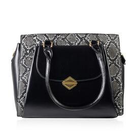 Snake Pattern Satchel Bag with Detachable Shoulder Strap and Zipper Closure (Size 33x28x11 Cm) - Win