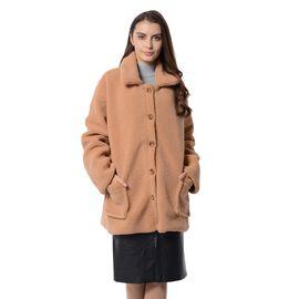 New Season - Designer Inspired - Teddy Faux Fur Coat (Size XL/14-16) - Camel