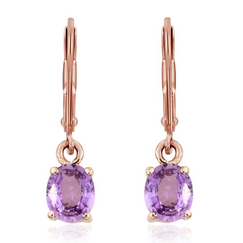 ILIANA 18K Rose Gold UnHeated Natural Purple Sapphire (Ovl) Lever Back Earrings 1.330 Ct.