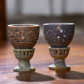 Nakkashi Set of 2 decorative hand carved soapstone egg holders (7.5X3.5 CM ) - IVORY/GREY.