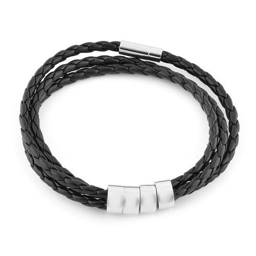 Personalise Engravable 4 Rings Leather Bracelet