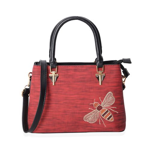 Hong Kong Collection True Red Embroidery Bee Design Tote Bag with Removable Shoulder Strap (Size 29x21x12.5 Cm)