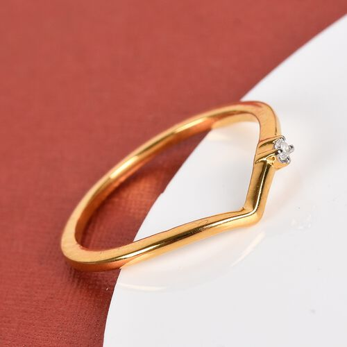 Diamond Wishbone Ring in 14K Gold Overlay Sterling Silver