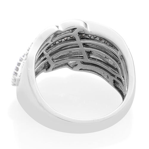 Designer Inspired - Diamond (Rnd) (I4/H-I) Ring in Platinum Overlay Sterling Silver 1.000 Ct. Silver wt 6.60 Gms.