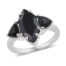 Boi Ploi Black Spinel (Mrq) Ring in Sterling Silver  4.500 Ct.