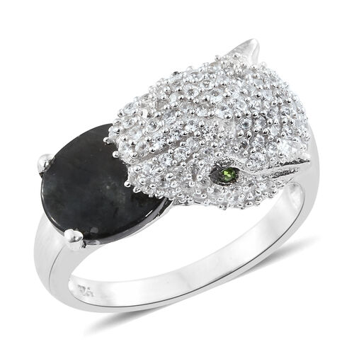 Natural Spectrolite (Ovl 2.08 Ct), Natural Cambodian Zircon and Russian Diopside Leopard Ring in Pla