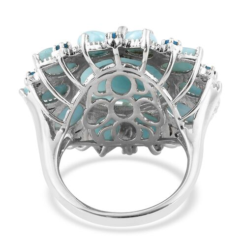 Larimar (Rnd and Pear), Malgache Neon Apatite Flower Ring in Platinum Overlay Sterling Silver 19.250 Ct. Silver wt 8.66 Gms.