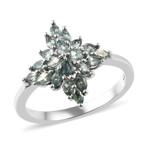 1 Carat Narsipatnam Alexandrite Cluster Ring in Platinum Plated Sterling Silver