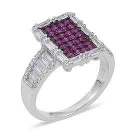 ELANZA Simulated Ruby (Sqr), Simulated Diamond Ring in Rhodium Overlay Sterling Silver, Silver wt 5.