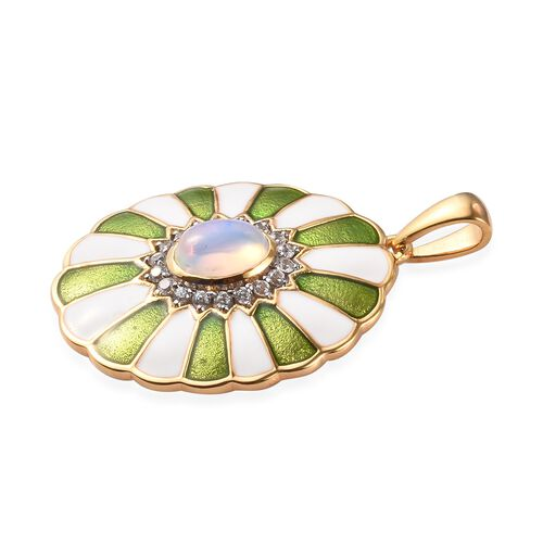 AA Ethiopian Welo Opal and Natural Cambodian Zircon Enamelled Pendant in 14K Gold Overlay Sterling Silver 1.25 Ct.