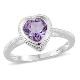 Rose De France Amethyst (Hrt) Solitaire Ring in Sterling Silver 1.500 Ct, Silver wt 3.17 Gms.