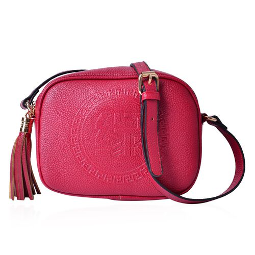 YUAN Collection Burgundy Colour Crossbody Bag with Tassels and Adjustable Shoulder Strap (Size 21x17x9 Cm)