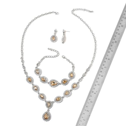 Simulated Champagne Diamond and White Austrian Crystal Necklace (Size 18 with 3 inch Extender), Earrings (with Push Back) and Bracelet (Size 7.5 with 3 inch Extender) in Silver Tone