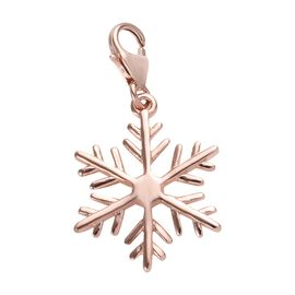 Snowflake Charm Pendant in Rose Gold Plated 925 Sterling Silver