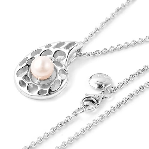 RACHEL GALLEY - Freshwater Pearl Pendant with Chain (Size 30) in Rhodium Overlay Sterling Silver, Silver wt. 10.90 Gms