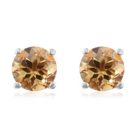 Citrine (Rnd) Stud Earrings (with Push Back) in Platinum Overlay Sterling Silver 2.500 Ct.